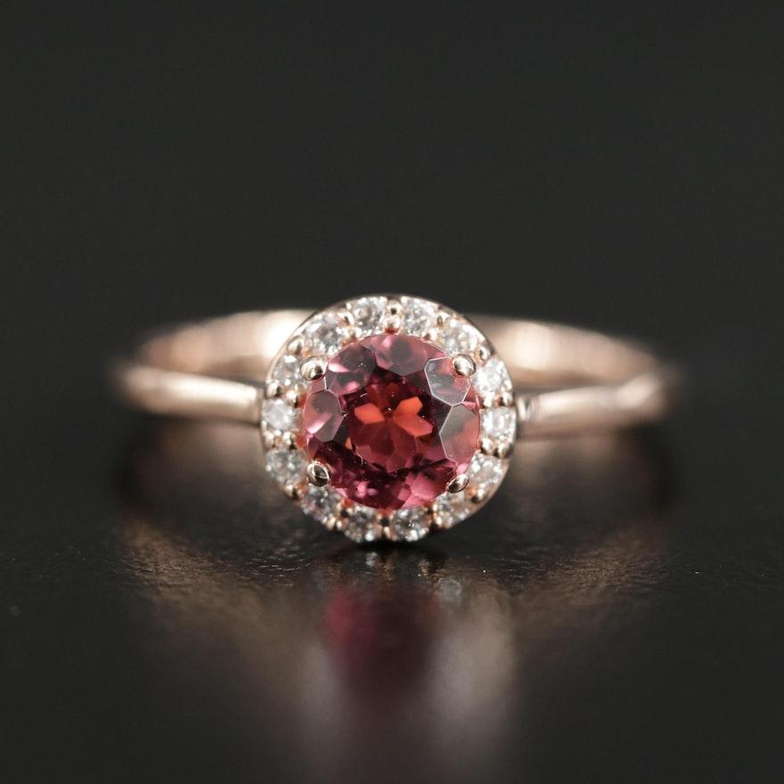 14K Rose Gold Pink Tourmaline and Diamond Halo Ring