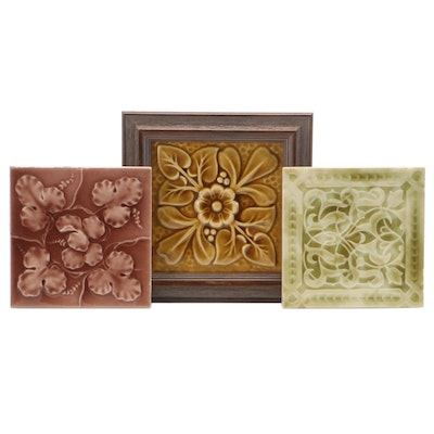 Hamilton Tile Works Framed Art Pottery Tile and Other Decorative Tiles