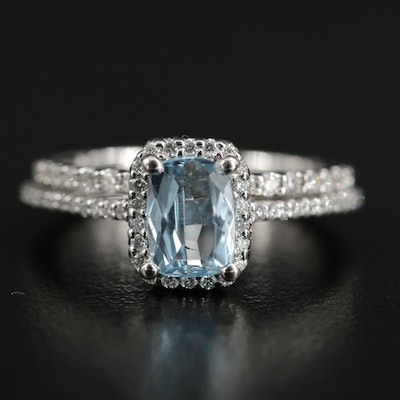 18K Aquamarine and Diamond Halo Ring with 14K Diamond Band