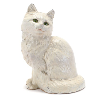 Painted Cast Iron Persian Cat Doorstop, Early 20th Century