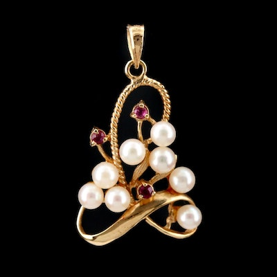 14K Yellow Gold Pearl and Ruby Pendant