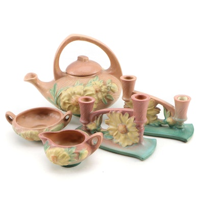 """Roseville Pottery """"Peony"""" Tea Set and Candle Holders, Mid 20th Century"""