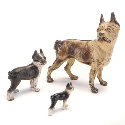 Cold Painted Cast Iron Boxer Doorstop, Still Bank and Figurine
