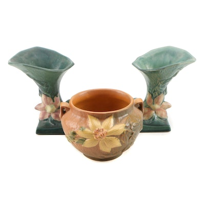 "Roseville Pottery ""Clematis"" Jardiniere and Cornucopias"