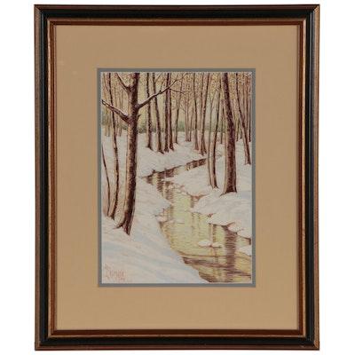 Richard Frederick Erdmann Landscape Gouache Painting, 1946