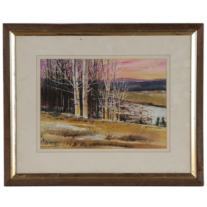 "Joseph Eiser Watercolor Painting ""Snow Patches"""