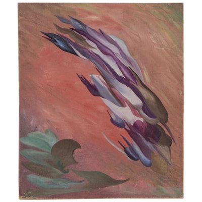Surrealist Style Abstract Oil Painting, Late 20th Century