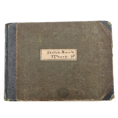 1854 - 1860 Original Sketchbook of J. Thorp with Handwritten Index