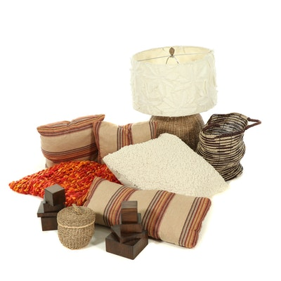 Woven Pier 1 Throw, Wicker Lamp, Pillows and Natural Decor