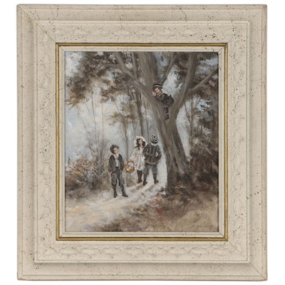 Oil Painting of Children in the Woods