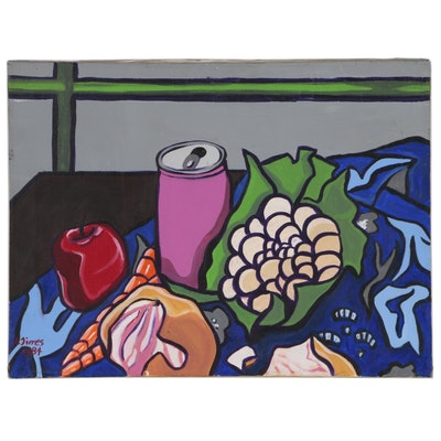 Modernist Style Acrylic Still Life Painting, 1984