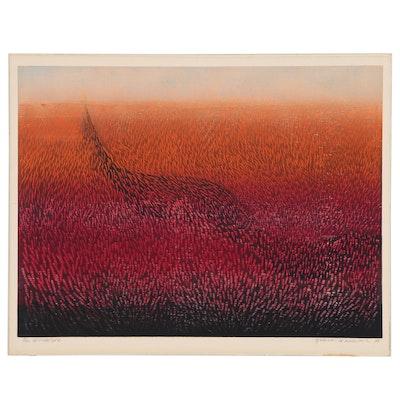 """Hasumi Yukio Woodblock """"Work - S2"""", 1968"""