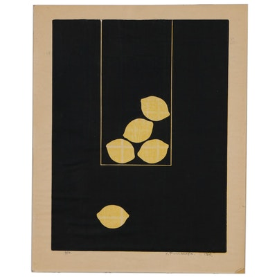 Funasaka Yoshisuke Modernist Woodblock of Lemons, 1967