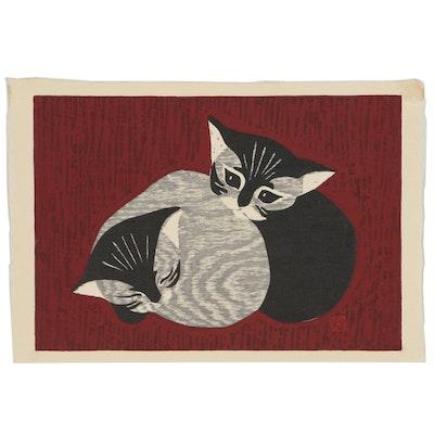 "Kaoru Kawano Woodblock ""Two Kittens"", Mid 20th Century"