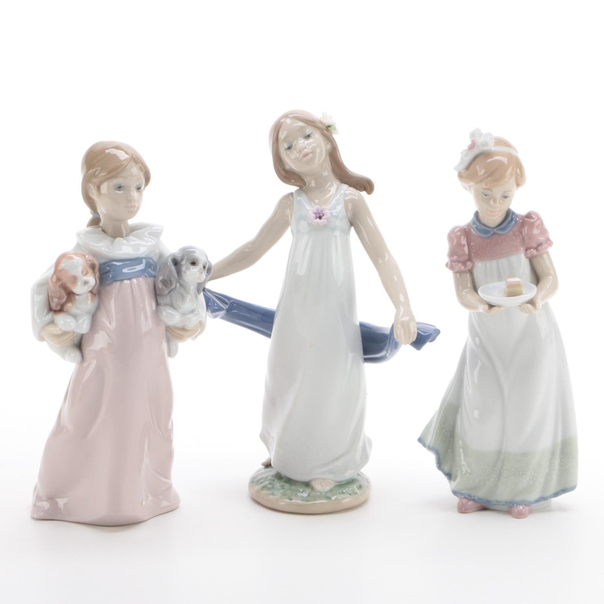 """Lladro """"Arms Full of Love"""", """"Happy Birthday"""" and """"Gentle Breeze"""" Figurines"""