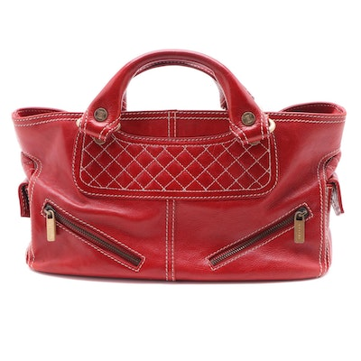 Celine Red Leather Boogie Bag with Contrast Stitching