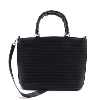 Gucci Black Pleated Bamboo Handle Two Way Handbag, Vintage