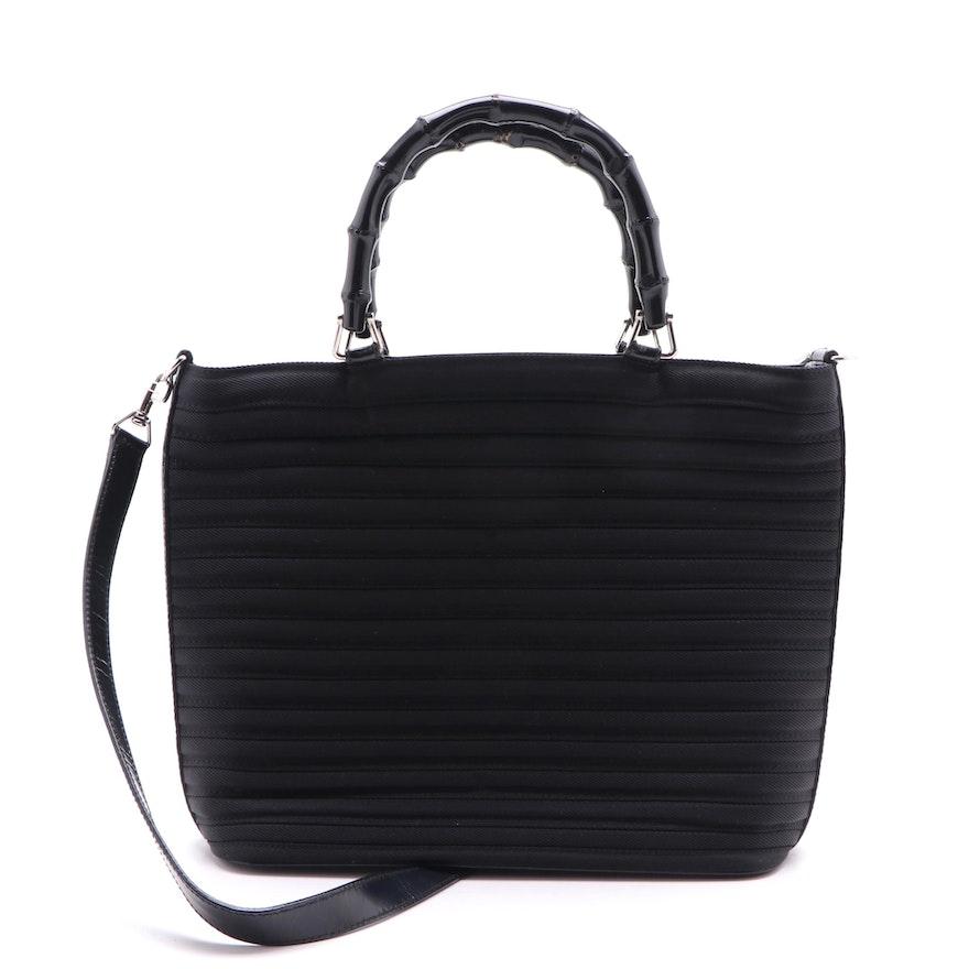 Gucci Black Pleated Bamboo Handle Two Way Handbag, Vintage