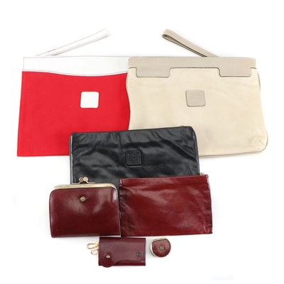 Etienne Aigner Leather Accessory Set with Anne Klein Wristlet Clutches, Vintage