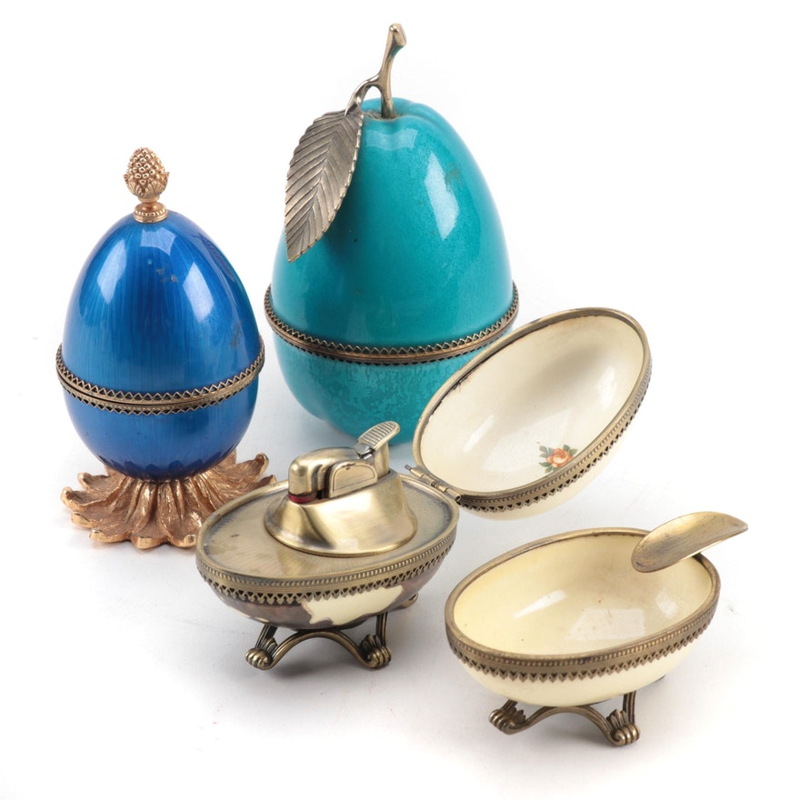 Evans Enameled Metal Egg and Pear Table Lighters and Ashtray, Mid-20th Century