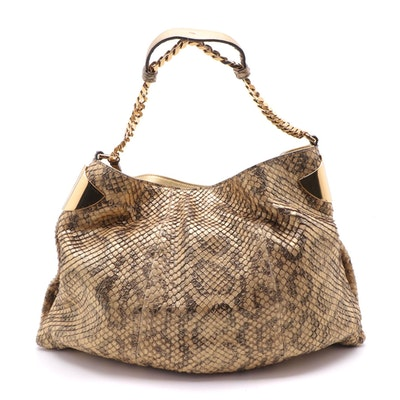 Gucci 1970 Collection Metallic Matelassé Python Hobo Bag with Tassel