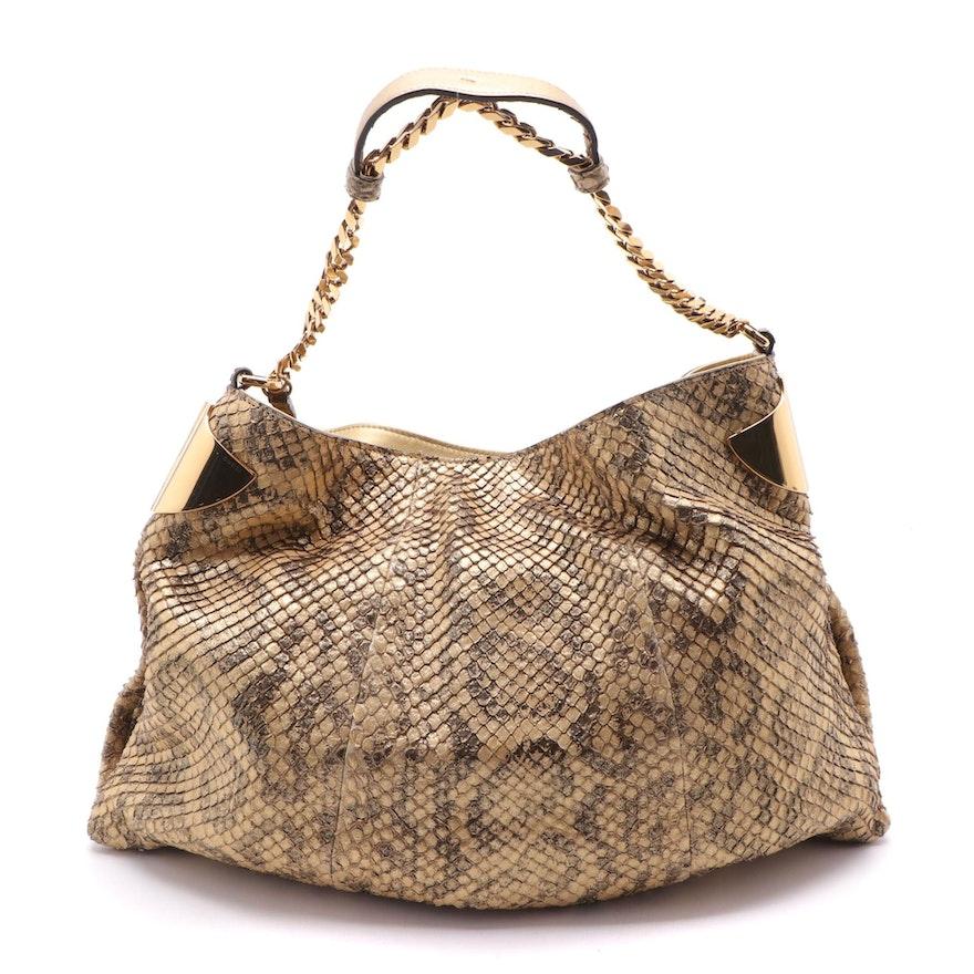Gucci 1970 Collection Metallic Matelassé Python Hobo Bag with Tassel