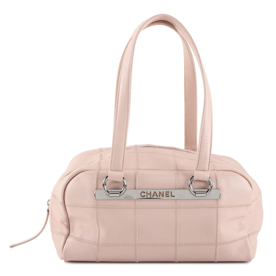 Chanel Quilted Bowler Bag in Blush Beige Caviar Leather