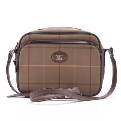 Burberry Tan Plaid Jacquard Camera Bag Crossbody, Vintage