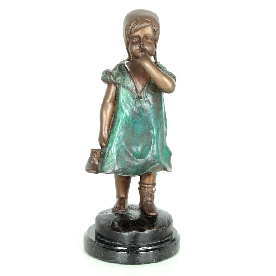 Brass Sculpture after Juan Clara of Girl with Shoe