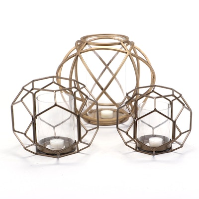 Patinated Metal Geodesic Orb Candle Holders