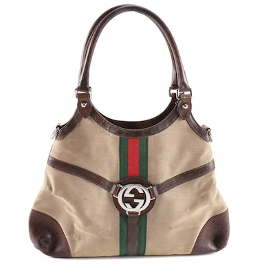Gucci Reins Web Stripe Canvas and Leather Top Handle Hobo Bag