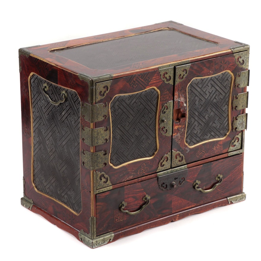 Japanese Brass Mounted Marquetry Jewelry Chest, Mid-19th Century
