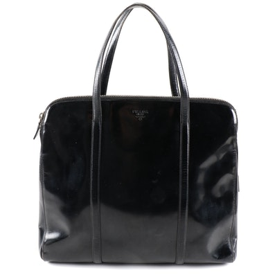 Prada Glazed Black Leather Top Handle Bag