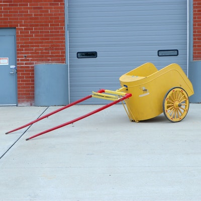 Replica Chariot in Yellow Sheet Metal with 14-Spoke Wheels, Mid-20th Century
