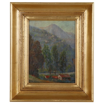 Hillside Landscape Oil Painting, Mid 20th Century