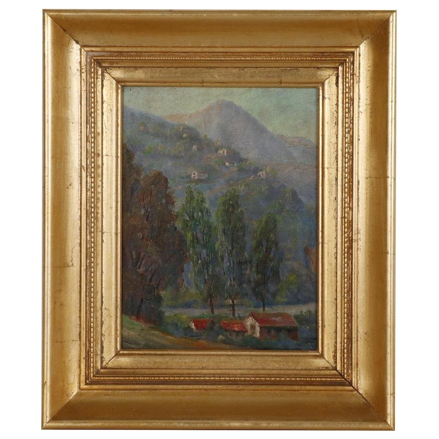 Hillside Landscape Oil Painting, Mid 20th Century