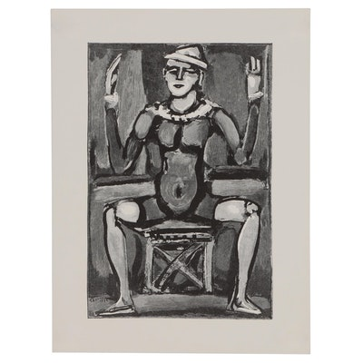 "Georges Rouault Wood Engraving ""Sitting Clown"", 1938"