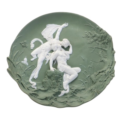 German Green Jasperware Plaque of a Courting Scene, Early 20th Century