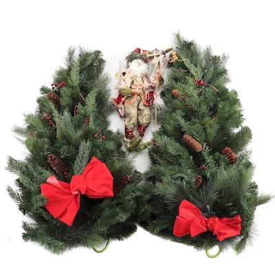Frontgate Winter Pine Teardrop Swag Wreaths with Mark Roberts Elf