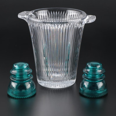 Japanese Soga Crystal Champagne Ice Bucket with Hemingray 42 Glass Insulators