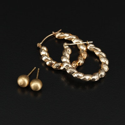 14K Yellow Gold Hoop and Stud Earrings