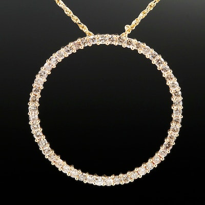 14K Gold 1.00 CTW Diamond Concentric Pendant Necklace