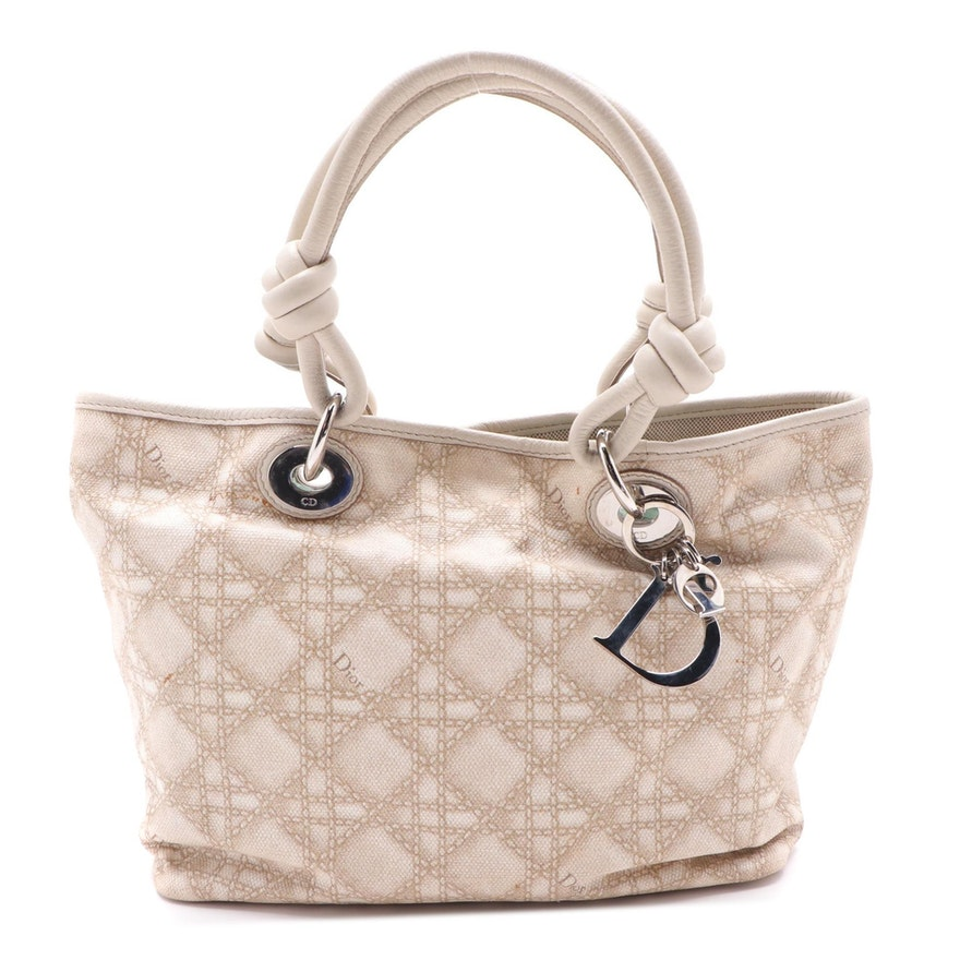 Christian Dior Beige Cannage Printed Canvas and Leather Shoulder Bag
