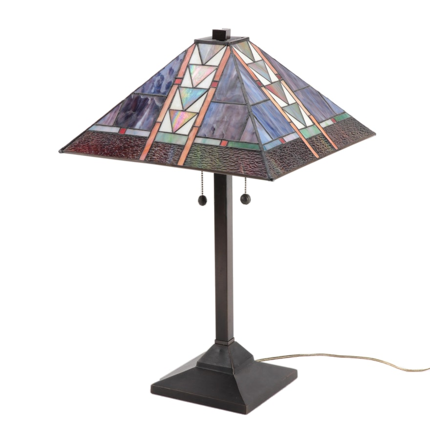 Dale Tiffany Mission Style Stained Glass Desk Lamp with Metal Base