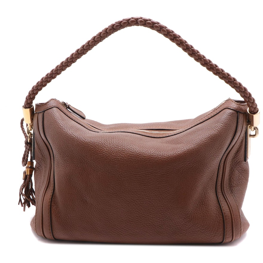 Gucci Bella Brown Pebbled Leather Braided Strap Satchel
