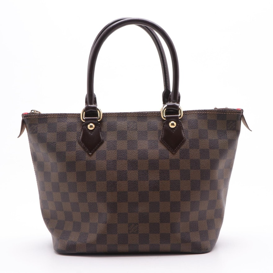 Louis Vuitton Saleya PM Tote in Damier Ebene Coated Canvas and Leather