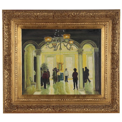 Richard Williamson Oil Painting of Figural Interior Scene