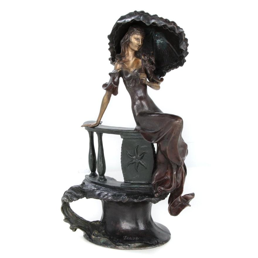 "Bronze Sculpture after Louis Icart ""Lady with Umbrella"""