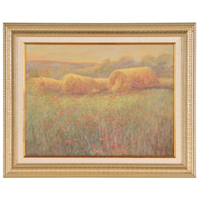 John Charles Roach Oil Painting of Hay Bales, 1994