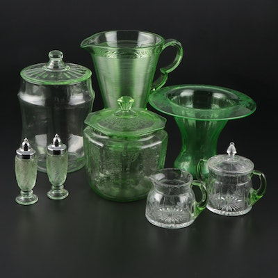 Green Pressed Glass Table Accessories with Etched Glass Cream and Sugar Set